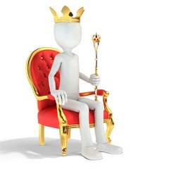 3d man king sitting on the royal throne