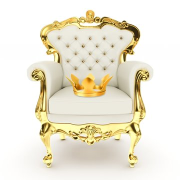 3d king's throne, royal chair with golden crown