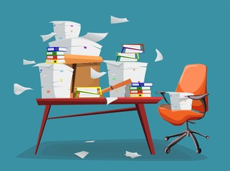Pile of paper documents and file folders in carton box on office table. Flat cartoon style vector illustration.