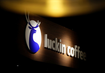 A logo is seen at a Luckin Coffee store in Beijing