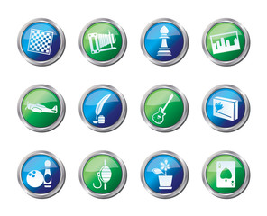Hobby, Leisure and Holiday Icons over colored background - Vector Icon Set