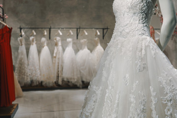 Wedding dresses in a luxury shop