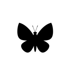 Black silhouette of butterfly isolated on white background.