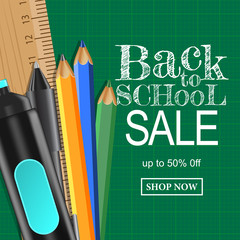 Back to school banner sale background with pen set and ruler on the cutting board