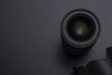 Photo DSLR camera or video lens and hood close-up image