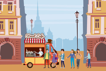 Coffee truck, barista, colored coffee shop outdoor composition, city, with buyers standing in line for coffee, men and women, teenagers, urban scene, vector, cartoon style, isolated