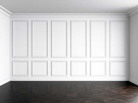 3d render of white interior with panels on wall and dark wood on floor