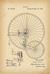 1892 Patent Velocipede Tricycle Bicycle archival history invention