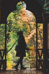 Silhouette of woman in autumn park