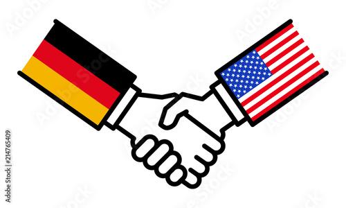 Handschlag Deutschland USA, Abkommen, Freundschaft, Händeschütteln ...