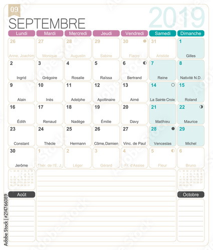 French Calendar September 2019 French Printable Monthly Calendar