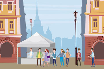 Trade tent, ice cream counter, seller under a canopy, selling ice cream, drinks, corn, fast food, sweets. People, sellers and buyers. Urban scene. Vector illustration in cartoon style. ,