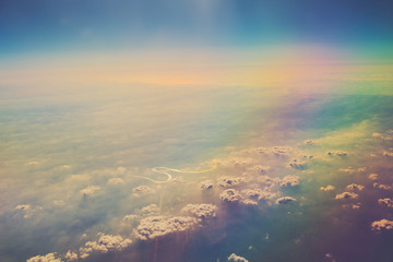 aerial panoramic landcapes over cloudscape