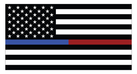 United states of America flag with blue thin line, which represents the law enforcement and red thin line as firefighters