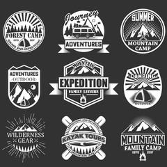Vector set of outdoor adventure labels, emblems
