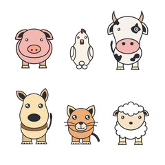 Color illustrations of animals on a farm and pets.