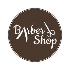 Barber shop vector vintage label, badge, or emblem on vintage background