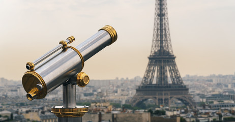 Eiffel tower view at sunset with Telescope, Paris. France