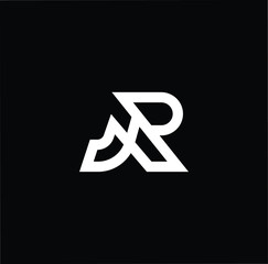 Outstanding professional elegant trendy awesome artistic black and white color JR RJ initial based Alphabet icon logo.