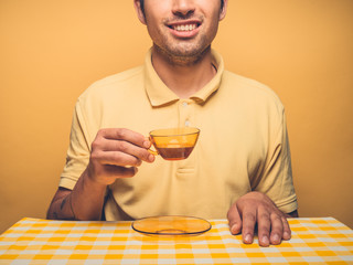Young hipster man drinking coffee