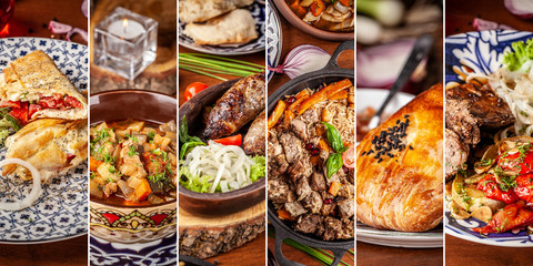 The concept of Traditional Eastern, Asian. Arabic cuisine. Seth from different dishes. background image.