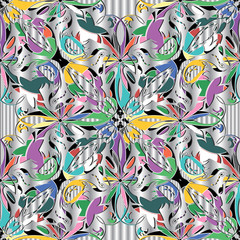 Elegance floral colorful 3d vector seamless pattern.