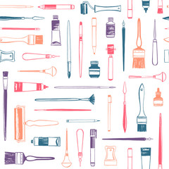 Art supplies, printmaking tools, artist equipment seamless vector pattern. Flat lay illustration, colorful background. Uneven hand drawn brush, pen, marker, roller, cutter, crayon, paint tube.