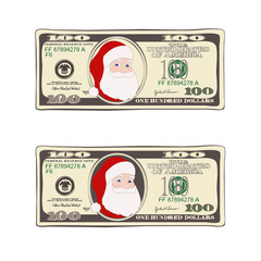 Set of Christmas bill one hundred dollars with Santa Claus.