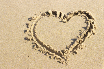 Heart shape drawn in sand, top view