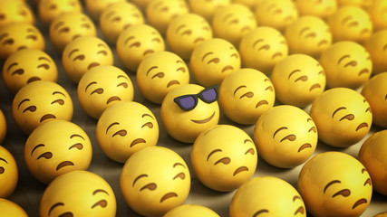 the concept of a long awaited vacation cheerful smiley in glasses surrounded by sad smileys 3d render