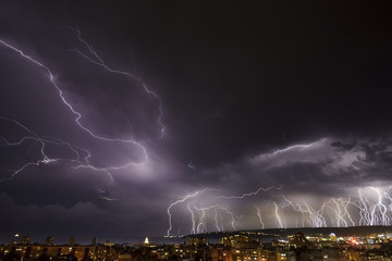 Storm over Varna, Bulgaria, with lightnings and flashes.