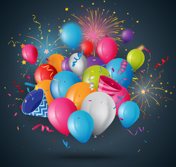 Celebrations balloon with ribbon and confetti