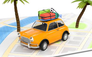 3D auto mit Gepäck Reise