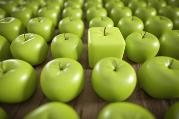 Wall Mural - 3D kantiger Apfel in Reihe