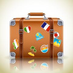 Vector illustration - Leather brown vintage suitcase for travel,eps10.
