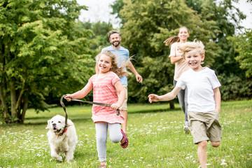 Junge und Mädchen mit Hund im Park