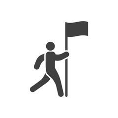 Icon of a man running to the flag. Vector illustration on white background.