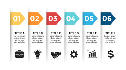 Vector paper arrows infographic, banners diagram, labels graph, stickers presentation chart. Business concept with 6 options, parts, steps, processes. Slide template.