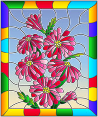 Illustration in stained glass style with bright pink flowers  , buds and leaves on a sky background in bright frame