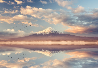 mount fuji at lake Kawaguchi in the morning time, Japan
