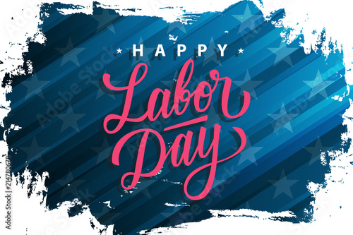 Usa Labor Day Celebrate Banner With Brush Stroke Background And Hand