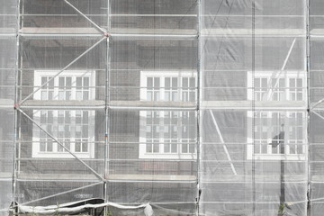 Baugerüst,  Baustelle, Fenster, Abdeckplane
