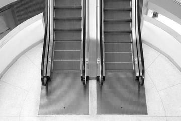Begin or finish of escalator with nobody