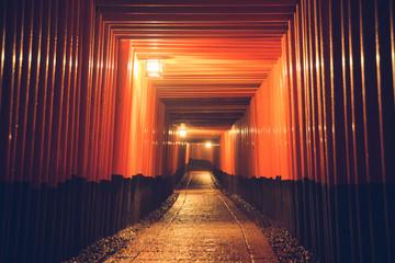 Pathway orii gates at Fushimi Inari Shrine at night and rain Kyoto, Japan. Wall mural