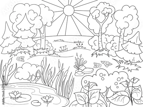 Cartoon coloring book black and white nature glade in the forest cartoon coloring book black and white nature glade in the forest with plants voltagebd Image collections