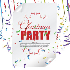Christmas party poster template with confetti and colorful ribbons isolated on white background. Vector illustration.