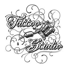 Vintage tattoo studio monochrome logotype