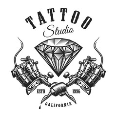 Vintage tattoo monochrome label