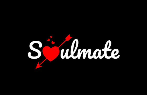 soulmate word text with red broken heart