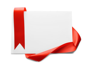 Blank paper card with red ribbon on white background